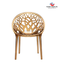 Ikea style Modern Tree pattern round back chair transparents plastic chair leisure chair for dinning room/Office/Bar Gold