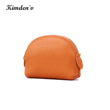 New design Orange color leather shell shape coin purse cheap price ladies leather coin purse with logo printing