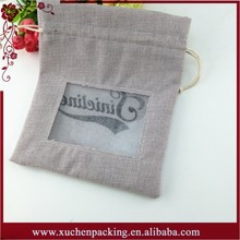Gift drawstring grey burlap pouch with PVC window