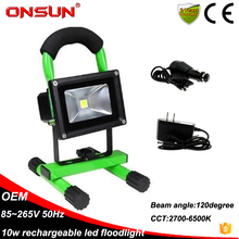 Hot Selling Portable 10w rechargeable led floodlight waterproof IP65 with charger