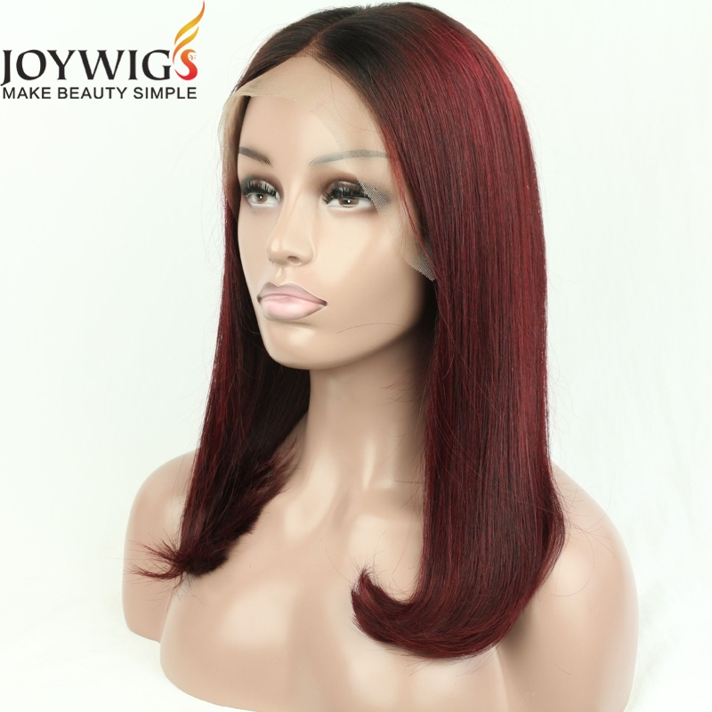 Ombre human hair bob wig two tone lace front wig