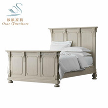 Classic American Style Antique Taupe King Size Wooden Panel Bed