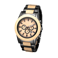 2017 hot sale 100% natural eco friendly wood watch stainless steel men with your logo