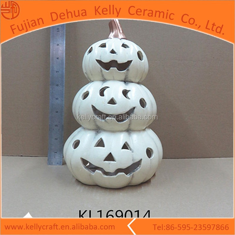 White Color Lighted Stacked Ceramic Pumpkins