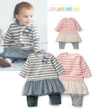 S32127W Baby Boy Girl Clothes Long Sleeve Lace Skirt 2016 Autumn Striped Girls Romper