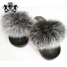 Attractive Design European Winter Ladies Fox Fur Sandals Light Slippers