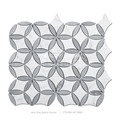 Bianco Carrara mix Latin Gray Flower Shaped White and Grey Marble Mosaic Tile for Kitchen