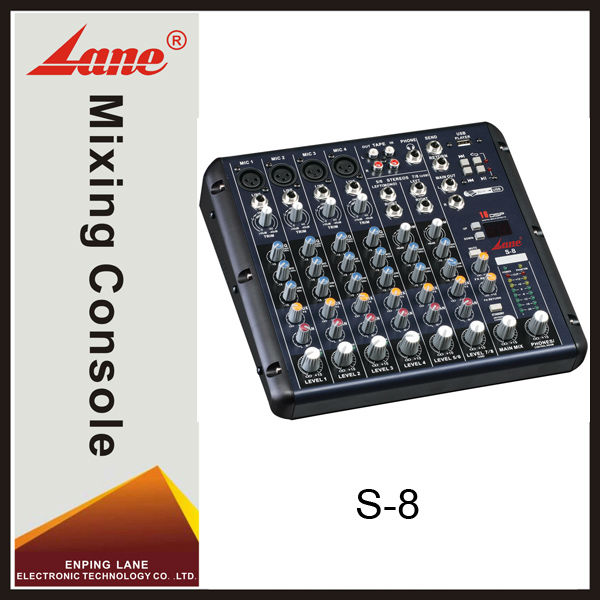 Lane S-8 8 channel professional MP3 player audio video mixer