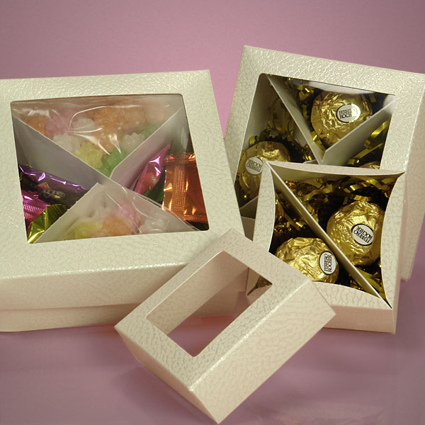 embossed candy set-up boxes with view-top lids and divider inserts