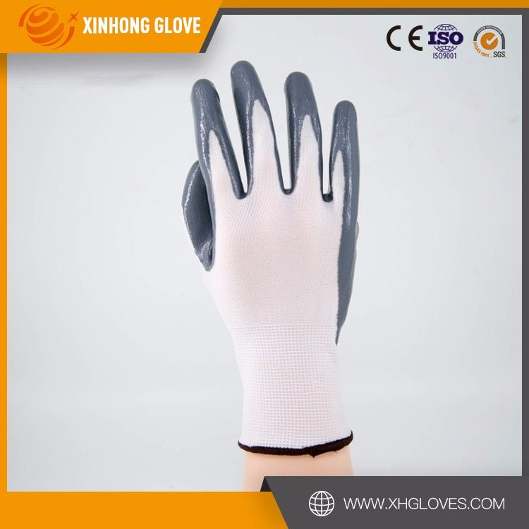 13G printing nylon shell nitrile coated garden gloves