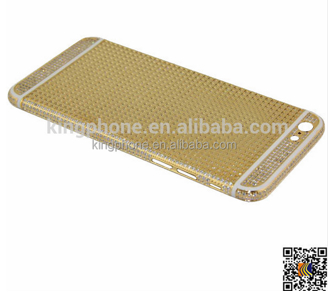 new arrival alibaba art and craft luxury design full diamond 24K genuine gold housing for iphone 6 plus