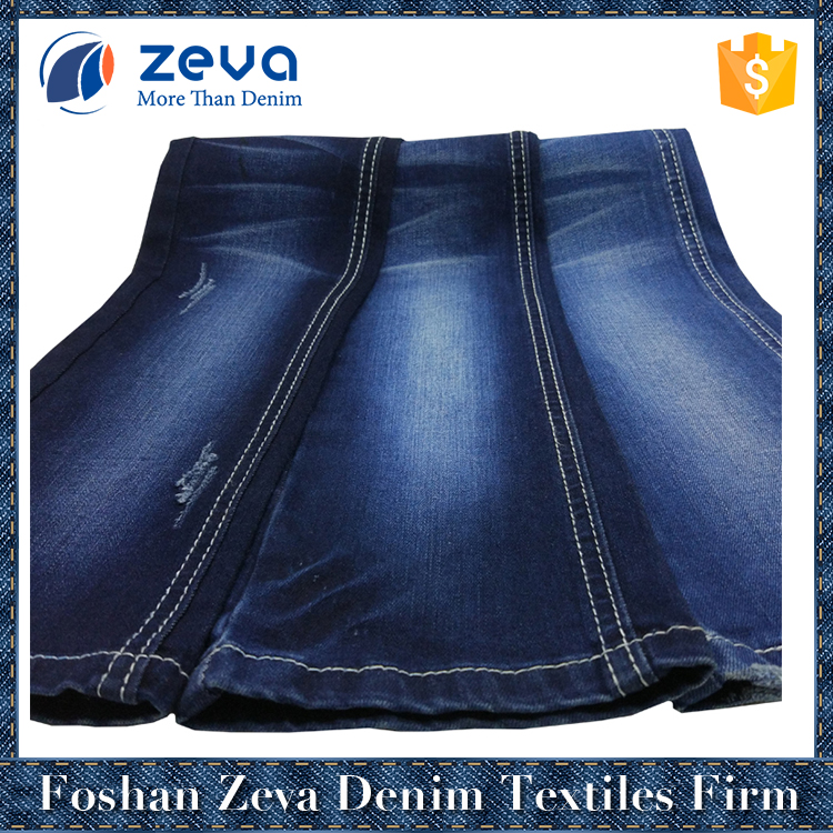 2017 hot selling in-stock cotton polyester rayon stretch denim fabric for jeans