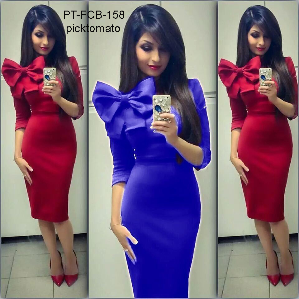 big bow tie sexy tight evening dress in wholesale price NO 158