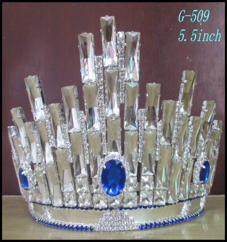 Fashion crystal flower large pageant crowns, customized crowns large rhinestone