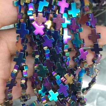 multi-Colored Magnetic Hematite cross Beads Strands Gemstone Loose Beads for Jewelry Making Diy Bracelet Necklace
