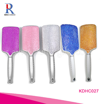Professional Wholesale Good Quality Bling Crystal Studded Personalized Custom Hair Paddle Brush