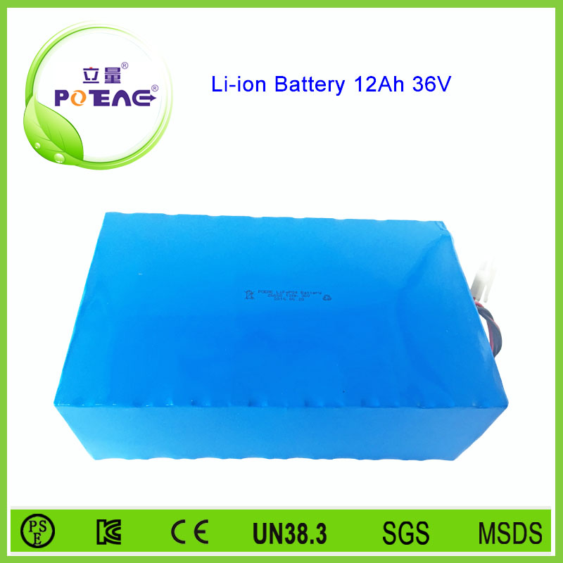 lifepo4 materials 26650 rechargeable li-ion battery 36v 12ah