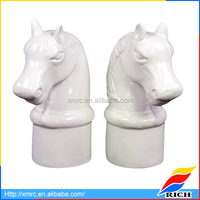 Clear art deco tall white horse bookends with ceramic