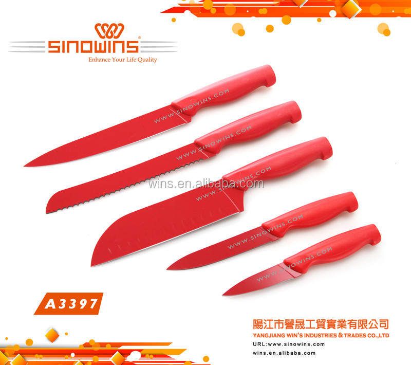 A3397 Stainless Steel Kitchen Knives with Non-Stick Coating Colourful
