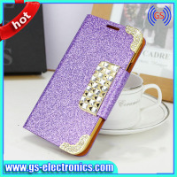 Top quality Meteorites bling diamond case for samsung galaxy s5 wallet leather flip cover case for samsung galaxy s5