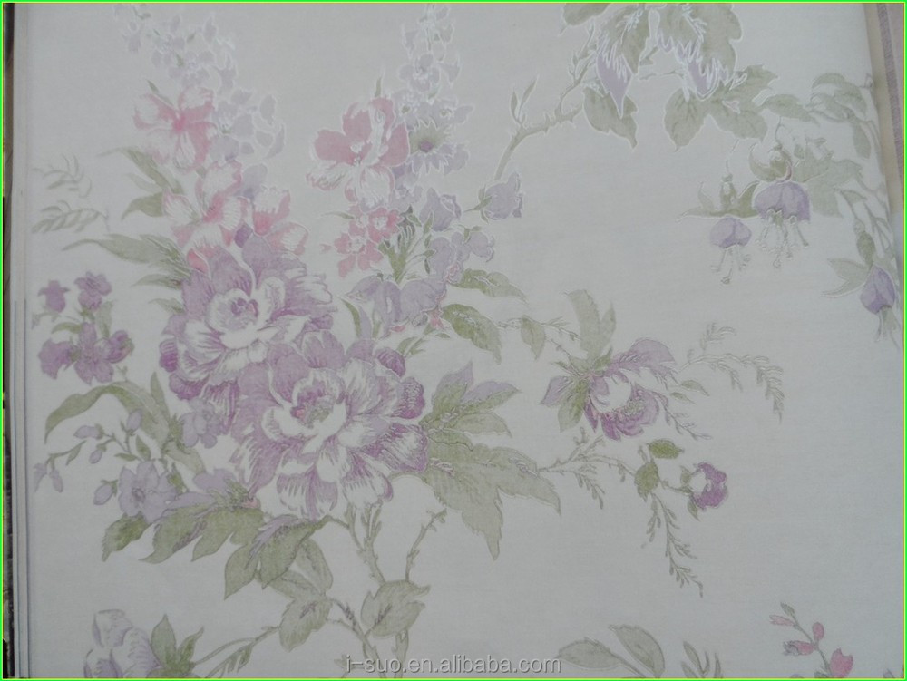 green leaf and pink flower nonwoven wallpaper 0163