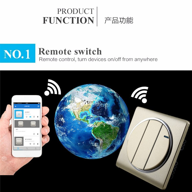 1Gang 2Gang 3 Gang wall Switch Smart Home Automation Wireless Wifi Control LED Lights Wall Switch