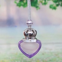 2014 fashion 5ml small heart glass perfume bottle for carhanging /mobile pendant /home decoration/ gift