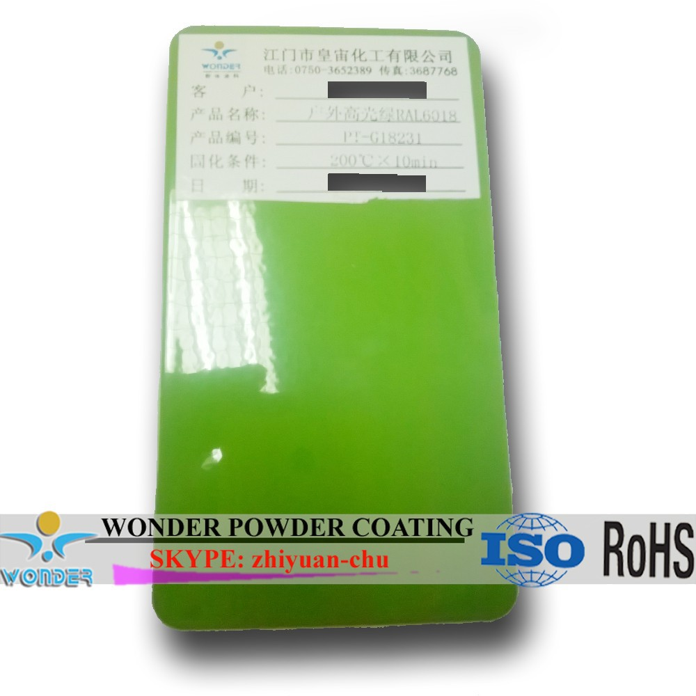 Outdoor big size machine casing use high gloss RAL 6018 green powder <strong>coating</strong> with ROHS standard