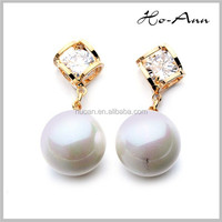 modern women earrings 2015 classical design gold earrings with pearl