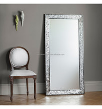 home decor mosaic floor standing framed mirror