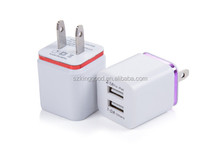 High Quality US Plug 5V 2.1/1A Dual USB AC USB Charger Wall Power Adapter for ipad iPhone Samsung HTC Cell Phones