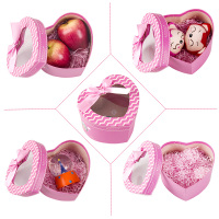Heart shape pink gift box with clear window for chocolate/apple/ flower packaging