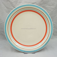 new designs hand painting stoneware bread plate with stripes design in tableware