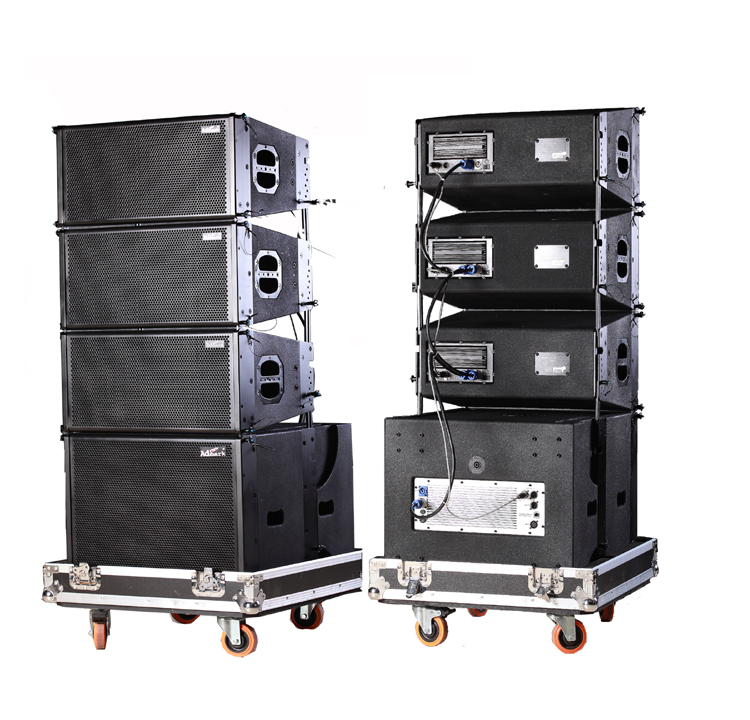 Admark active 3 way double 10 quot line array with calss d amplifier and