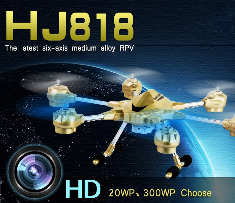 Newest Huajun HJ818 4CH 6-axis Gyro Rc Helicopter with 2MP HD Camera Support 3D Roll One Key Return VS Dji Phantom By Salange