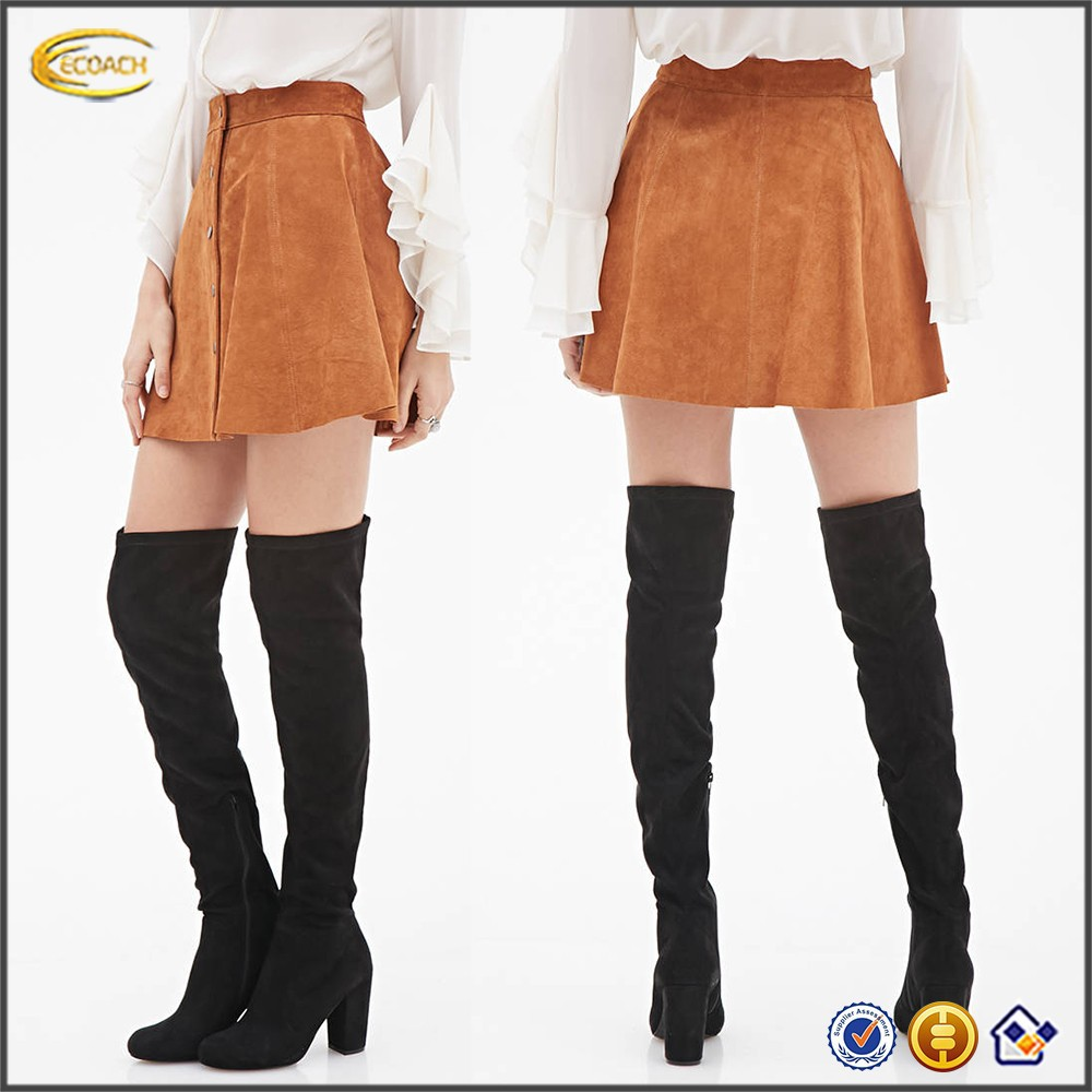 Ecoach women skirt China manufacturer high quality OEM service wholesale mature woman leather skirt