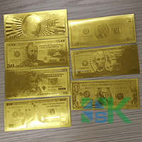 7 Pieces USA Gold Foil Banknote Set 1/2/5/10/20/50/100 US Dollar Bill Banknote