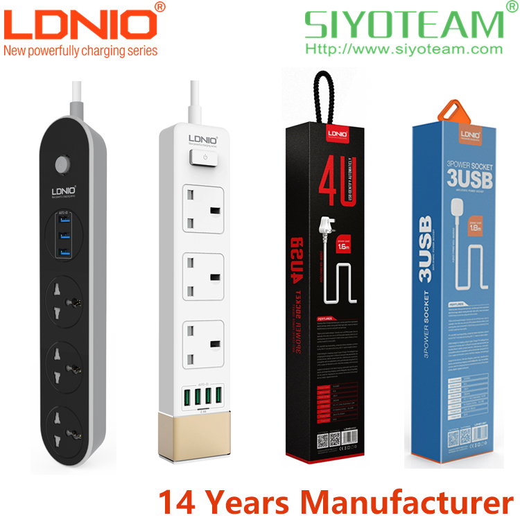 multi plug 3 4 6 USB 2500W 1.6m cord LDNIO extension socket power strip