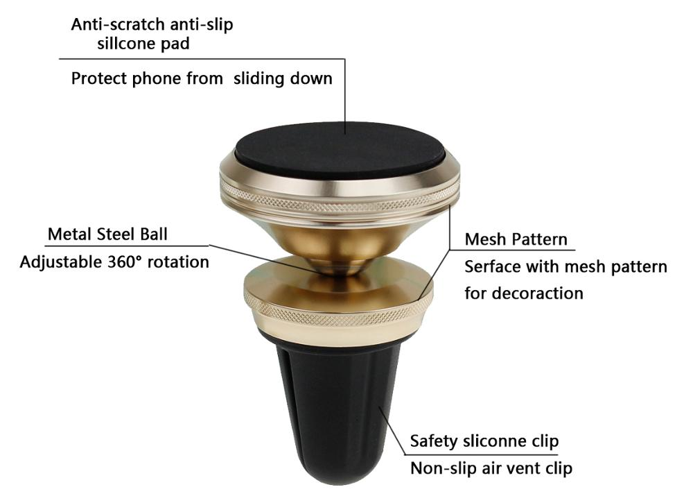 Adjustable 360 degree rotation air vent magnetic metal phone mount holder for car