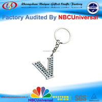 Promotional Customized Little Letter V Design Metal Key Chain with Precious Stone