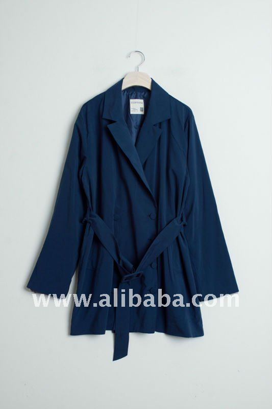 Loose Fit Blue Trench Coat_Womens Fall