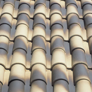 "Spanish ""Aged Cream"", ""Occitan"", double roman ceramic roof tile, made of clay"