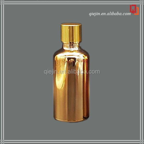 Beautiful electroplating 30ml 60ml gold glass bottles with pump caps