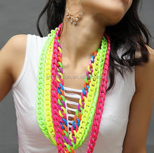 Neon Fluorscence Girls Candy Color Acrylic Chain Link Rainbow Necklace