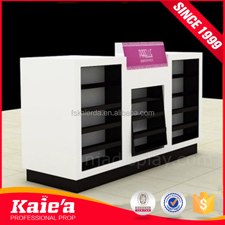 Modern Design Cosmetic Store Makeup Display with MDF Shiny Baking Paint Cosmetic Stand
