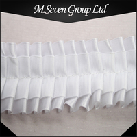 Summer Item 4cm White Elastic Drape Lace, Polyester Satin Ribbon, Pleated Lace for Dress/Garment