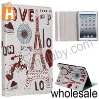 Eiffel Tower Pattern Stand Folio Cover Leather Case for iPad Mini/Retina iPad Mini with Elastic Strap