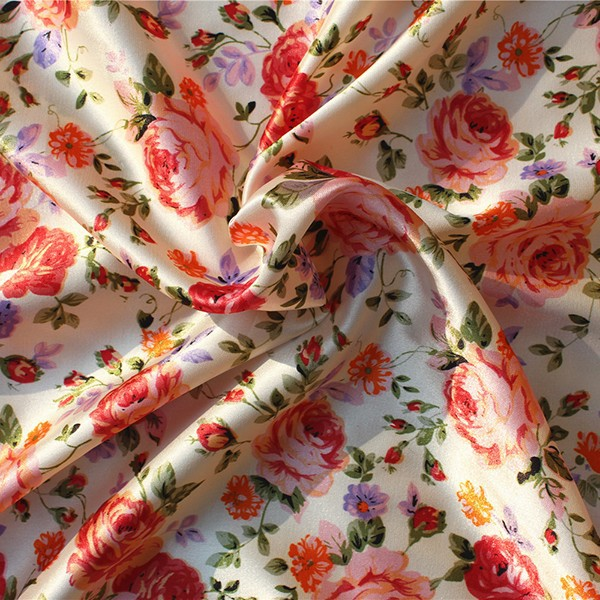 Wholesale 100% polyester satin farbic .printed silk satin