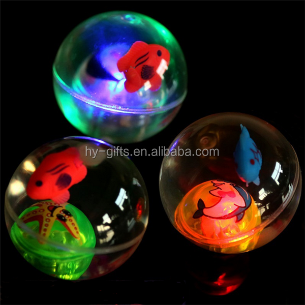 fish inside ball water bouncy rubber led ball animal cartoon led ball