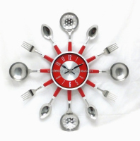 Red Kitchen Wall clock with Knife , fork and Spoon hands